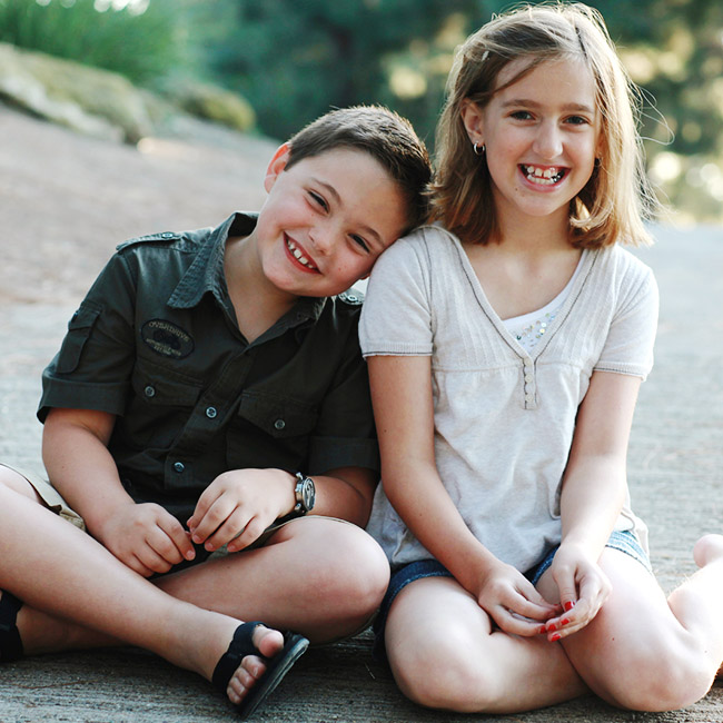 A young boy and girl having fun
