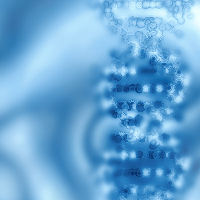 A blue DNA double helix.