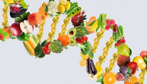 A colourful DNA double helix made out of fruits and vegetables.