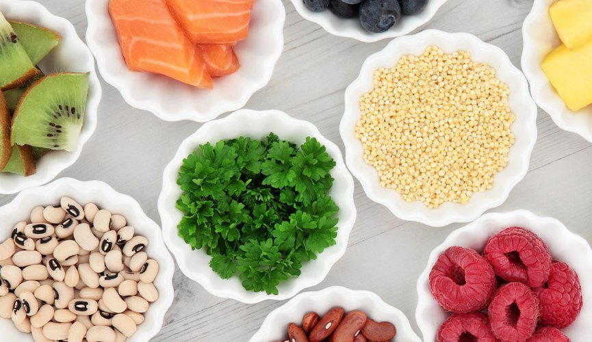 A spread of nutritional bowls of foods.