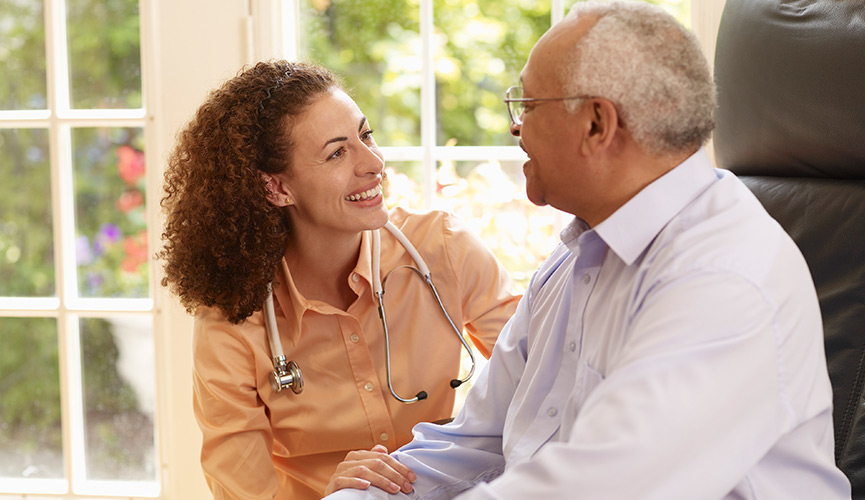 Practitioner visits patient in his home