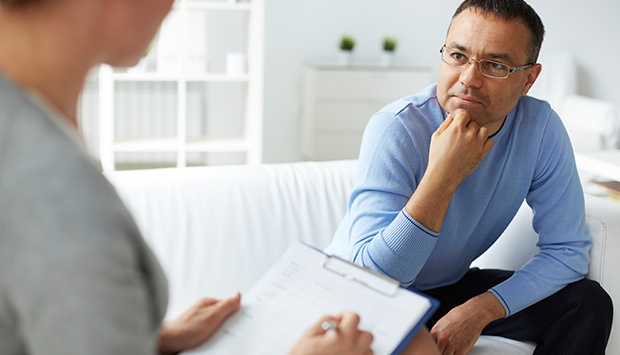 Patient speaks to a mental health practitioner