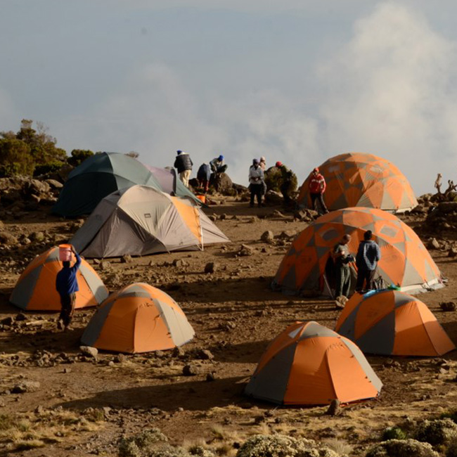 Tents at the basecamp at Kilimanjaro
