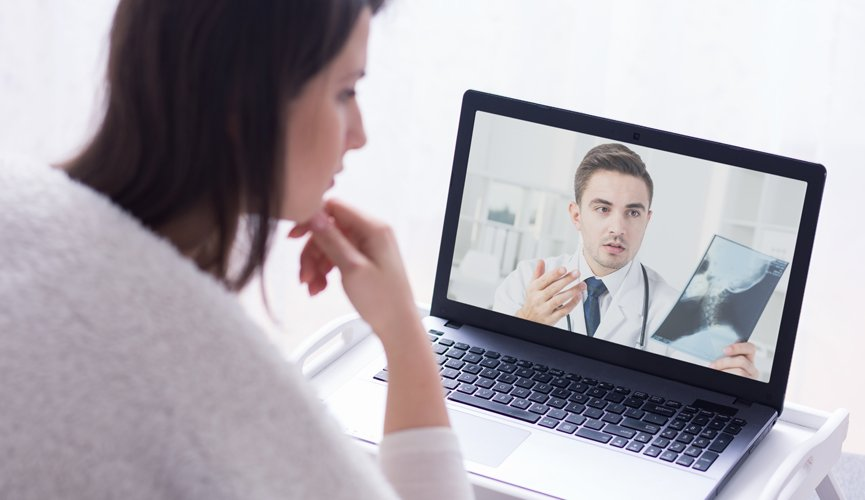 Physician reviews x-ray results with patient via virtual consultation