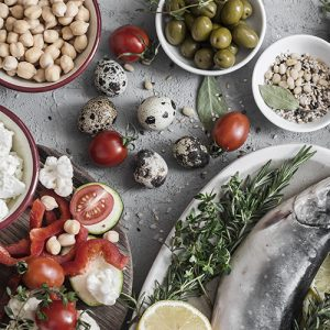 Table setting of mediterranean style food