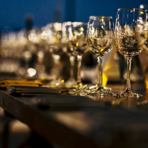 table settings for fine dining with glassware