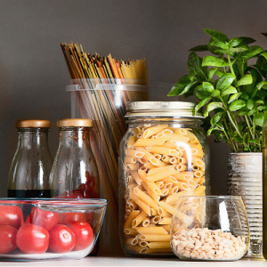 Pasta and vegetables in a cupboard