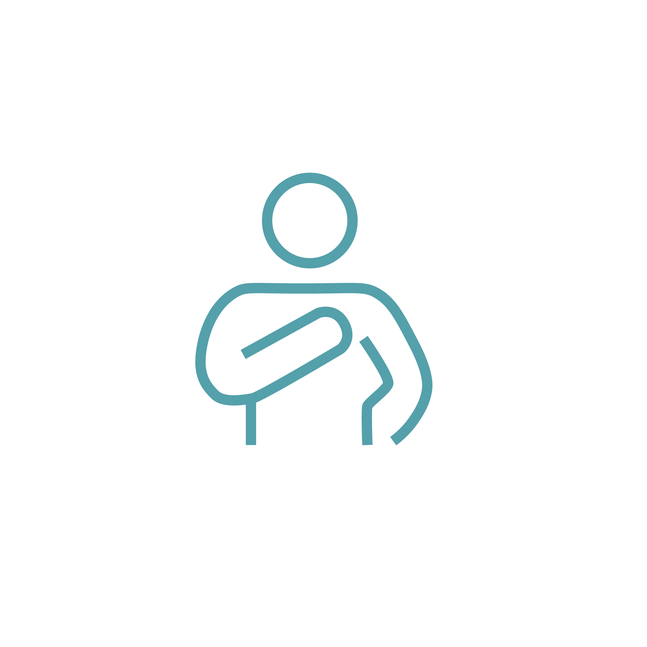 Icon of person using elbow to reduce physical contact.