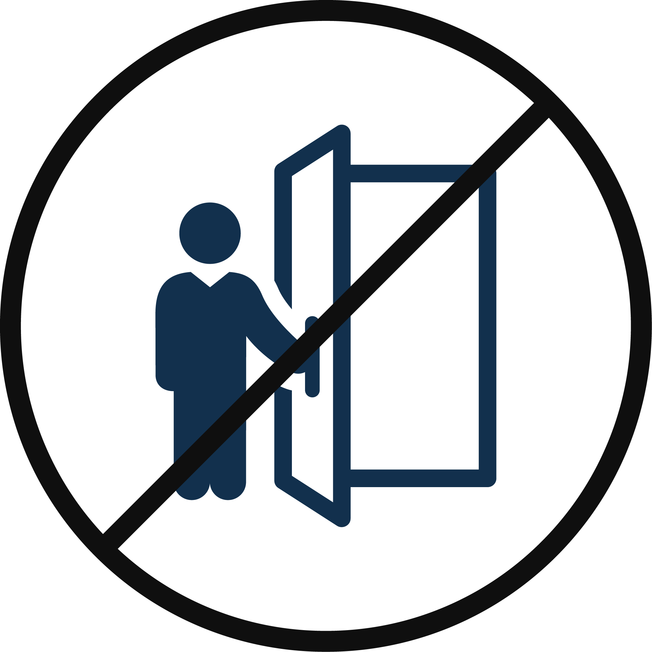 Icon depicting a person touching a doorknob with a cross through it.