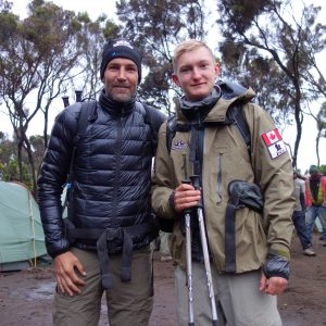 Shaun Francis (left) with his son, Will, on an expedition to climb Mount Kilimanjaro.