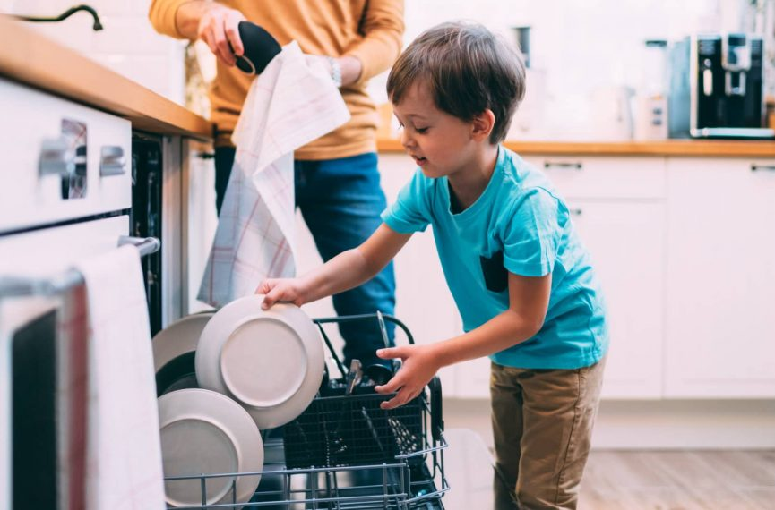 child helping with chores